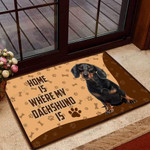 home is where my dachshund is Funny Outdoor Indoor Wellcome Doormat