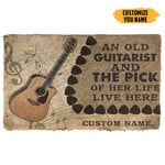 3D An Old Acoustic Guitarist And The Pick Of Her Life Custom Name Doormat