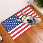 Amazing Siberian Husky With American Flag - Dog Doormat  Welcome Mat