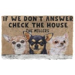 3D Check The Chihuahua House Custom Name Doormat