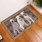 Dogo Argentino Flower Paw - Dog Doormat  Welcome Mat