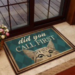 Did You Call First - Cat Doormat  Welcome Mat  House Warming Gift