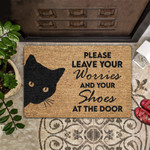 Cat Lovers  Door Mat Please Leave Your Worries And Your Shoes Coir Pattern