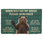 3D Please Remember Grizzly Bears House Rule Custom Doormat
