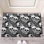 Black And White Rose Floral Skull Funny Outdoor Indoor Wellcome Funny Outdoor Indoor Wellcome Doormat