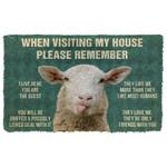3D Please Remember Sheeps House Rule Custom Doormat