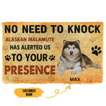 Gearhuman 3D No Need To Knock Alaskan Malamute Dog Custom Name Doormat
