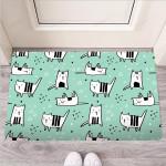 Cute Green Doodle Cat Print Funny Outdoor Indoor Wellcome Funny Outdoor Indoor Wellcome Doormat