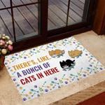 Bunch of cats in Here Cat Doormat  Welcome Mat