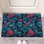 Blue And Red Floral Sugar Skull Funny Outdoor Indoor Wellcome Funny Outdoor Indoor Wellcome Doormat