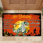 Funny Door Mat No Soliciting Unwanted Visitor Will Be Eaten By T-rex Idea For Halloween Decoration