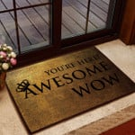Door Mat Youre Here Awesome Wow Coir Pattern