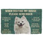 3D Please Remember American Eskimo Dogs House Rules Custom Doormat