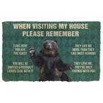 3D Please Remember Black Bears House Rule Custom Doormat