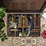 Cat Sleep On Self Book Doormat Indoor Ouside Decorative Doormat For Cat Lover Housewarming Gift
