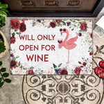 Flamingo Will Only Open For Wine - Flamingo Doormat - Wine Doormat  Welcome Mat  House Warming Gift