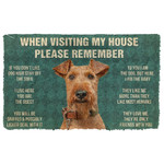 3D Please Remember Airedale Terrier Dogs House Rules Custom Doormat