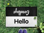 Hello Goodbye BlackWhite Funny Outdoor Indoor Wellcome Doormat