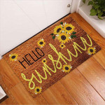 Hello sunshine Sunflower Doormat  Welcome Mat