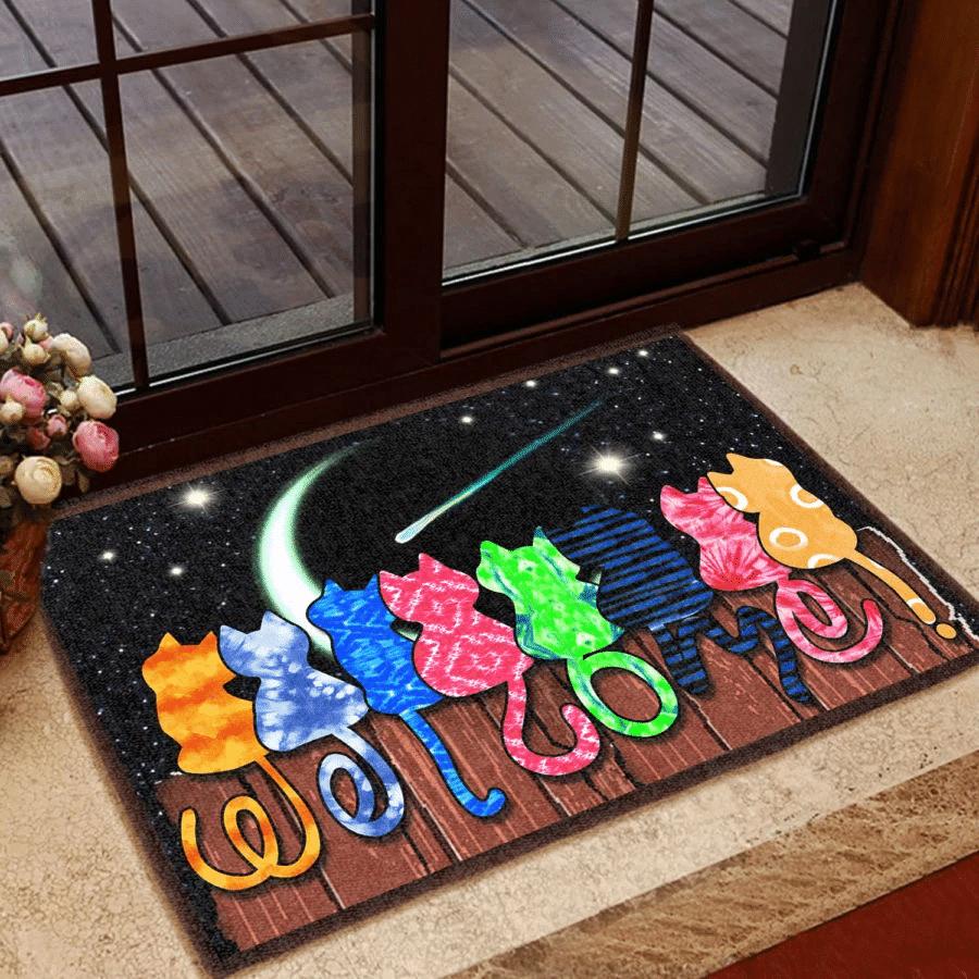 Cat Lovers Door mat Colorful Cat Welcome