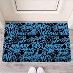 Hiphop Graffiti Blue Text Print Funny Outdoor Indoor Wellcome Funny Outdoor Indoor Wellcome Doormat