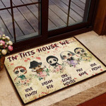 Horror Movie Lovers Door mat Halloween Idea Gifts In This House
