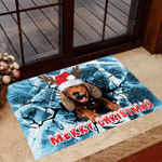 Dachshund Ice Crack 3D Doormat Cute Animal Doormat Christmas Gifts For Family Weiner Dog Gifts