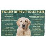 3D House Rules Golden Retriever Dog Doormat