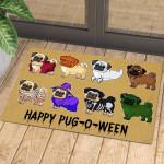 Happy Pug-o-ween Halloween Funny Outdoor Indoor Wellcome Doormat