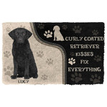 3D Curly Coated Retriever Kisses Fix Anything Custom Name Doormat