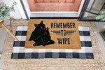 Cat Lovers  Door Mat Remember To Wipe Coir Pattern