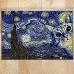 Cat Doormat Cat Starry Night Van Gogh Style  Welcome Mat  House Warming Gift