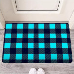 Blue Plaid Print Funny Outdoor Indoor Wellcome Funny Outdoor Indoor Wellcome Doormat