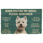 3D Please Remember White Terrier Dogs House Rules Doormat