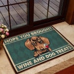 Dachshund - Hope You Brought Wine  Dogs Treats All Over Printing Funny Outdoor Indoor Wellcome Doormat