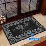Horse racing - Black Version Funny Outdoor Indoor Wellcome Doormat