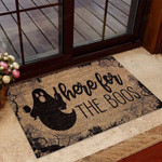 Here for the boos Coir pattern print Wine Doormat  Welcome Mat