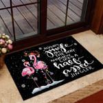 Always jingle all the way Flamingo Doormat  Welcome Mat