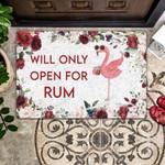 Flamingo Will Only Open For Rum - Flamingo Doormat - Wine Doormat  Welcome Mat  House Warming Gift