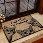 Cute Shoes Take Them Off - Cat Doormat  Welcome Mat  House Warming Gift