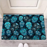 Blue Sugar Skull Print Funny Outdoor Indoor Wellcome Funny Outdoor Indoor Wellcome Doormat