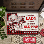 Lovers  Door Mat A Lovely Lady And A Grumpy Old Man Live Here