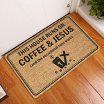 Lovers  Door Mat This House Runs On Coffee  Jesus