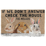 3D Check The Bunny House Custom Name Doormat
