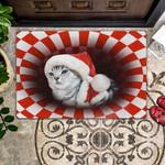 American Short Hair Christmas - Cat Doormat  Welcome Mat  House Warming Gift