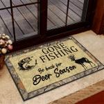 Gone Fishing be back for Deer season Funny Outdoor Indoor Wellcome Doormat