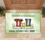 Family Personalized Rubber Base Door Mat Nanny And Grandad Making Memories