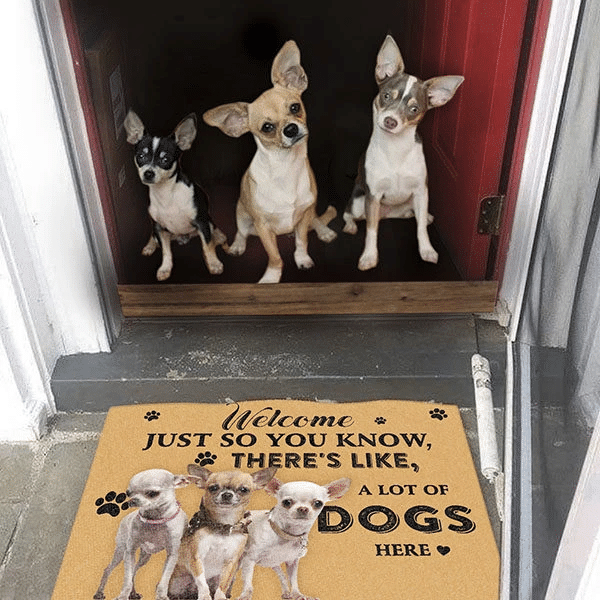 Dog Lovers Door mat Chihuahua A Lot Of Dogs Here