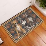 American Staffordshire Terrier Flower Paw - Dog Doormat  Welcome Mat