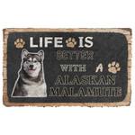 3D Life Is Better With A Alaskan Malamute Custom Doormat